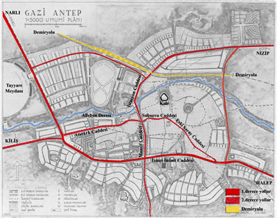 <p><strong>5.</strong> Öngörülen ana ulaşım akslarının Jansen  Planı üzerinde gösterimi</p>