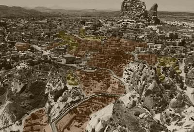 <p><strong>5.</strong> Kırmızı ile işaretli bölge, 2019  itibariyle otelin Uçhisarda yerleşmiş olduğu alanı, sarı ile işaretli bölge  ise projelendirilmekte olan alanı gösterir<br />   Kaynak: Argos Yapı arşivi</p>