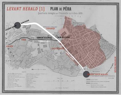 <p><strong>5.</strong> Mandouceun haritasıüzerinden<em> Levant  Herald</em> gazetesinin yapmış olduğu birinci öneri</p>