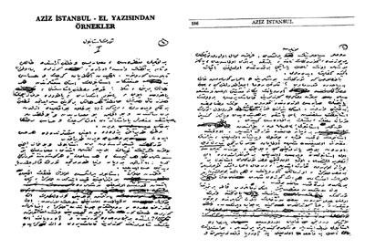 <p><strong>5.</strong> Yahya Kemalin el yazısından örnekler<br /> Kaynak: <strong>Aziz İstanbul</strong>, 1969.</p>