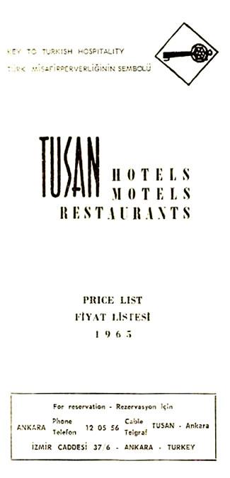 Resim 5. Tusan M/oteller, fiyat listesi, 1965 (Kaynak: Tuna Ultav Arşivi)