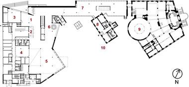 <p><strong>5.</strong> Turku Kent  Kütüphanesi Giriş Kat Planı (1. Giriş, 2. Danışma, 3. Stüdyo, 4. Çalışma  odaları, 5. Çocuk Bölümü, 6. Gençlik Bölümü, 7. Okuma Alanı, 8. Kafe, 9. Sanat  ve Edebiyat, 10.Kütüphane Avlusu. Eski Kütüphane Binası: 2.876 m² Eski İdare Binası:  315 m², Yeni Kütüphane  Binası: 5.447 m²)<br />  Kaynak: JKMM Architects Arşivi<strong></strong></p>