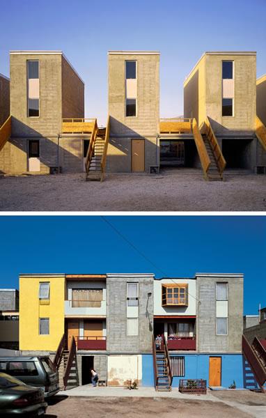 <p><strong>5.</strong> Öncesi ve sonrası: Şili'nin Iquique kentinde  Quinta Monroy'daki aileler için Elemental'ın geliştirdiği aşamalı konut  yapıları. Arazi, altyapı ve yapı için hükümetin verebildiği 7.500 ABD Doları,  tamamı kötü yapılmış bir yapı yerine yarım bırakılmış, geri kalanı ev sahipleri  tarafından tamamlanacak bir güzel yapı için kullanılmış.</p>
