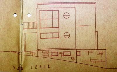 <p><strong>Resim  5. </strong>Güneydoğu cephesi  çizimi, Egli, 1935<br />  Kaynak: ABB Arşivi</p>