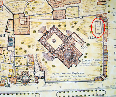 <p><strong>5. </strong>1936 tarihli Pervititch haritasında Laleli Camii yangın  havuzu<br />Kaynak: Jacques Pervititch Sigorta Haritalarında İstanbul.</p>