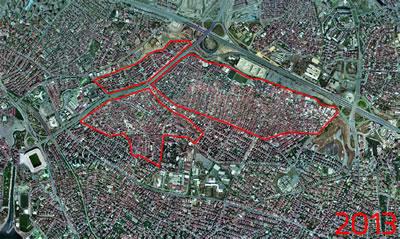 <p><strong>5.</strong> Fikirtepe 2013 yılı hava fotoğrafı ve dönüşüm alanı sınırları; yıkımlar öncesi  son durum<br />  Kaynak: İBB Haritaları  derlenerek Dinçer Aydın tarafından çizilmiştir.</p>