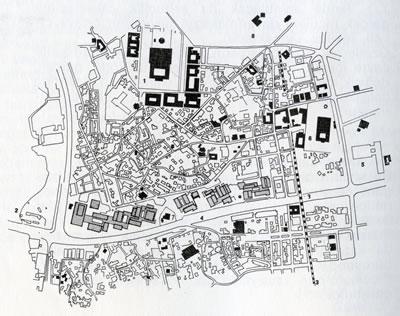 <p><strong>5. </strong>Yarışma  sonucunda önerilen vaziyet planı (Uygulama aşamasına kadar bir dizi revizyon  geçirmiştir.)<br />  Kaynak: <strong>İstanbul Manifaturacılar ve Kumaşçılar Çarşısı</strong>, 1968</p>