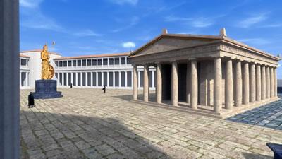 <p><strong>Resim  5. </strong>Athena  Tapınağı ve Kutsal Alanının iVisit Anatolia Projesi kapsamında bir numaralı  bakı noktasından bakılarak elde edilen 3 boyutlu görünümü<br />Kaynak: Ender Aydın arşivi </p>