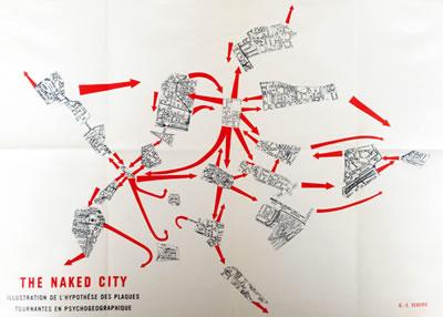 """<p><strong>5. </strong>Durumcu haritalama-Farklı  atmosferlerde deneyimlenen kent parçaları ve aralarında hissedilen zihinsel  uzaklık ve geçişler: Guy Debord, """"Guide Psychogeographique de Paris"""", 1955.<br />Kaynak: https://situationnisteblog.files.wordpress.com/2015/06/img_2697.jpg [Erişim: 26.03.2016]"""