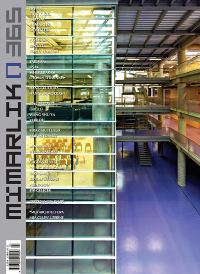 <p><strong>5.</strong> &ldquo;2012 / XIII.  Ulusal Mimarlık Ödülleri&rdquo; dosyasının olduğu 365. Mayıs-Haziran 2012 sayısı.  Kapaktaki yapı: OİB Teknik ve Endüstri Meslek Lisesi, Bursa / Mimarları: Metin  Kılıç, Dürrin Süer</p>