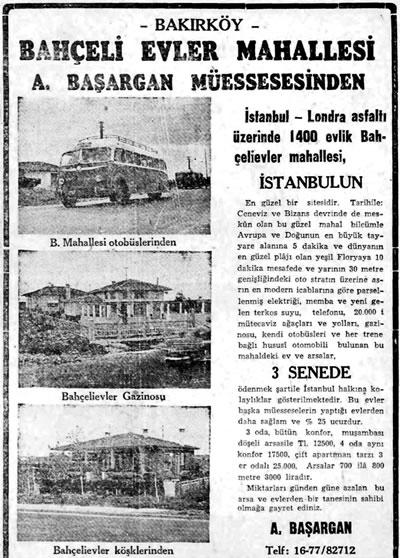 <p><strong>5. </strong>Bahçeli Evler Mahallesi<br />   Kaynak: <strong>Cumhuriyet  Gazetesi</strong>, 29.10.1949</p>
