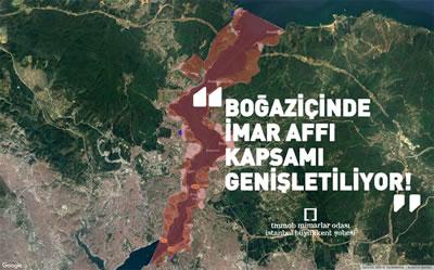"""<p><strong>5.</strong> 24 Haziran 2018  seçimleri öncesinde çıkarılan """"imar barışı"""" olarak adlandırılan yasanın kapsamı  genişletilerek ekonomik gelir elde edilmeye çalışılmaktadır. Konuya ilişkin İstanbul  Büyükkent Şubesi tarafından yapılan """"Boğaziçinde İmar Affı Kapsamı  Genişletiliyor!"""" başlıklı açıklamaya mimarist.org üzerinden erişebilirsiniz.</p>"""