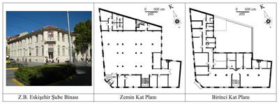 <p><strong>5.</strong> Ziraat Bankası Eskişehir Şube Binasının fotoğrafı ve  kat planları<br />   Kaynak:  Fotoğraf yazara aittir, planlar ise RST Proje İnşaat Danışmanlık San. Ve Tic.  Ltd. Şti. firmasının hazırlamış olduğu rölöveler esas alınarak yazar tarafından  düzenlenmiştir.</p>