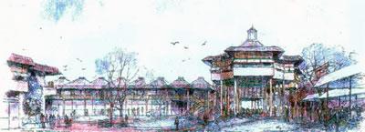 <p><strong>5.</strong> Eyüp Sultan Camisi yakın çevresinde  planladığı arasta kasrı için hazırladığı perspektif çizimi<br />   Kaynak: Osmanağaoğlu,  2007.</p>