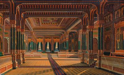 <p><strong>5.</strong> Sarkis Balyan, Çırağan Sarayı zemin kat orta sofası perspektifi<br /> Kaynak: <em>Balyanlar: Osmanlı Mimarlığı ve Balyan  Arşivi</em>, s.223.</p>