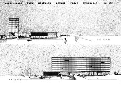 <p><strong>5b.</strong> Karayolları Genel Müdürlüğü Binası Proje Yarışması, 1955,  1. Ödül (Haluk Baysal, Melih Birsel, Radi Birol, Sedat Gürel, Abdurrahman  Hancı, Süha Toner, Faruk Sırmalı ile).</p>