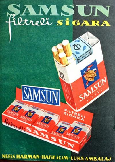 <p><strong>6.</strong><em> Filtreli Samsun sigarası  logo, ambalaj, paket ve afiş tasarımı, Atıf Tuna </em><br /> <em>Kaynak: Çam, 2014</em></p>