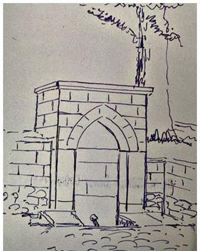 <p><strong>6.</strong> Ord. Prof. Dr. Süheyl Ünver tarafından  yapılan Veliefendi Çeşmesinin çizimi<br /> Kaynak: Süleymaniye  Kütüphanesi, no:322, Şeyhülislâm Veliyyüddin Efendi Dosyası</p>