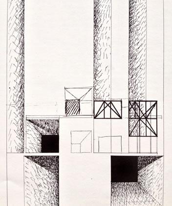 <p><strong>6. </strong>Costantino  Dardi tarafından Strada Novissima için tasarlanan cephe.<br />  Kaynak: 1980, <strong>Venice Architecture Biennale Catalogue</strong>,  s.40.<strong></strong></p>
