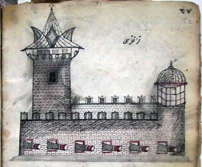 <p><strong>6.</strong> 18. yüzyıl başında derlenmiş bir mecmuada yer alan Kız  Kulesi resmi<br />Kaynak: Süleymaniye Kütüphanesi, Ali Nihat Tarlan Yazmaları,  182.</p>