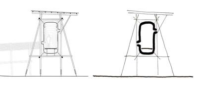 <p><strong>6.</strong> Steilneset, Finnmark Cadı Davalarının Kurbanları için Anıtın kesiti ve yorumu<br />Kaynak: Durisch, Thomas,  2014d, <strong>Peter Zumthor 2002-2007 Bauten  und Projekte Band 4</strong>, Scheidegger &amp; Spiess, Zürih, s.179. Çizim: Mehmet  Kerem Özel</p>