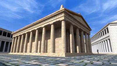 <p><strong>Resim  6.</strong> Athena  Tapınağı ve Kutsal Alanının iVisit Anatolia Projesi kapsamında iki numaralı  bakı noktasından bakılarak elde edilen 3 boyutlu görünümü<br />Kaynak: Ender Aydın arşivi </p>