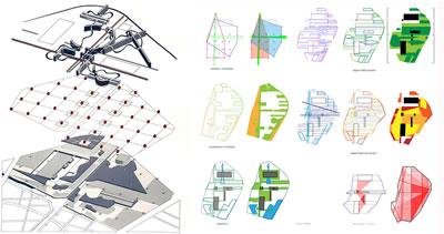 <p><strong>6. </strong>Haritalamada  katmanlama tekniği: Bernard Tschuminin ve OMA nın Parc La Villette yarışma  projeleri, 1983. <br />  solda Kaynak: <a href=