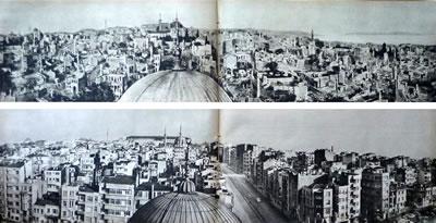 """<p><strong>6.</strong> Aksaray ve çevresinin yangınlar  sonrası hali ve 1957'de kargir ve betonarme karkas yapılarla inşası sonrası  görünümü. Tekin, İlke; Akpınar, İpek, 2014, """"Betonarmenin Anonimleşmesi:  Türkiye de İkinci Dünya Savaşı Sonrası Yapılı Çevrenin İnşası"""", <strong>Mimarlık</strong>, sayı: 377.<br />  Kaynak: 1957, """"İstanbul da  Yaz Yangın Mevsimi İdi"""", <strong>Hayat</strong>, 26  Temmuz 1957, s.42</p>"""