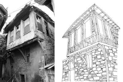 <p><strong>6. </strong>Batı Anadolu konut  geleneğinde yaygın olarak kullanılan strüktürel sistem; alt katlar yığma, üst katlar  ahşap karkas, bağdadi sıva</p>