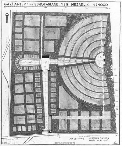 <p><strong>6.</strong> Yeni  mezarlık planı<br />   Kaynak: Technische Universität Berlin  Architekturmuseum</p>