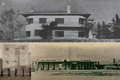 <p><strong>6.</strong> Fotoğraf çerçevesi içinde  yapının konumu, (a) <em>Arkitekt</em> 1932/10;  (b) <em>Arkitekt </em>1936/1; (c) <em>Arkitekt </em>1936/10-11</p>
