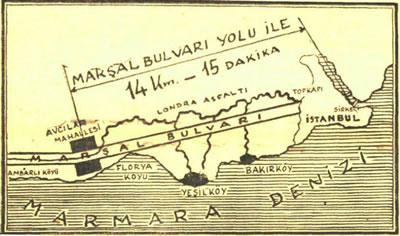 <p><strong>6a.</strong> İstanbul Yapı  Kollektif Şirketi reklamında Londra Asfaltı-Marşal Bulvarı ilişkisini gösteren  şemalar<br />   Kaynak: <strong>Cumhuriyet</strong>,  29.11.1953.</p>
