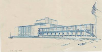 <p><strong>6a.</strong> Dudokun İzmir Belediyesi Tiyatrosu için Hollandada yaptığı çizimler  (perspektif, zemin ve giriş kat planları, görünüşler), 1954<br />   Kaynak: Stadsschouwburg  Izmir Turkije (ontwerp W.M. Dudok), NAi/DUDO 195K.34, 195M.101, Het Nieuwe  Instituut, Rotterdam. </p>