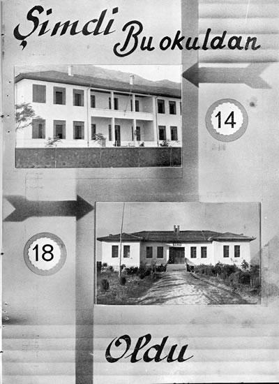 <p><strong>6b. </strong>1930&rsquo;lu yıllarda Manisa&rsquo;da  eski iki mektep ve iki yeni okul.<br />  Kaynak: 1938, <strong>Cumhuriyetin 15. Yılında Manisa</strong>, Kemal  Basımevi, İstanbul.<br />
