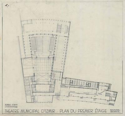 <p><strong>6c.</strong> Dudokun İzmir Belediyesi Tiyatrosu için Hollandada yaptığı çizimler  (perspektif, zemin ve giriş kat planları, görünüşler), 1954<br />   Kaynak: Stadsschouwburg  Izmir Turkije (ontwerp W.M. Dudok), NAi/DUDO 195K.34, 195M.101, Het Nieuwe  Instituut, Rotterdam. </p>
