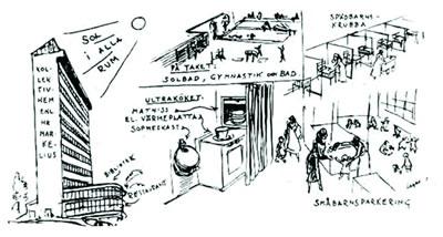 """<p><strong>6c. </strong>John Ericssonsgatan 6  projesine ait zemin kat ve ara kat planları ve ön cephe, Alva Myrdalın  fikirlerini yansıtan eskiz ve dahili telefon ağıyla hizmet veren merkezî  mutfak, çamaşır ve çocuk bakım mekanlarına ait iç mekânlar. Zemin kat planında: <strong>1.</strong> Merkezi mutfak <strong>2.</strong> İki küçük market <strong>3.</strong> Kreş <strong>4.</strong> Ortak alan<br /> Kaynak: Gearty,  Guiliana Vaccarino, 2016, """"Architecture  of Collectivity: Swedish Cooperative Housing in Stockholm, 1935-1945"""", yayımlanmamış tez, University  of Chicago, ss.35-49.</p>"""