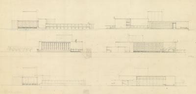 <p><strong>6d.</strong> Dudokun İzmir Belediyesi Tiyatrosu için Hollandada yaptığı çizimler  (perspektif, zemin ve giriş kat planları, görünüşler), 1954<br />   Kaynak: Stadsschouwburg  Izmir Turkije (ontwerp W.M. Dudok), NAi/DUDO 195K.34, 195M.101, Het Nieuwe  Instituut, Rotterdam. </p>