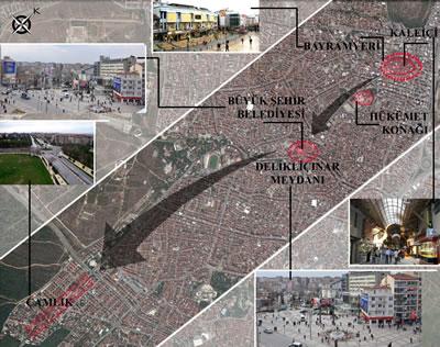 <p><strong> 7. </strong>Denizli'nin güney  aksı boyunca gelişen üç ana kent merkezi.<br />Kaynak: Google Earth haritası üzerine yazarlar tarafından  işlenmiştir.</p>