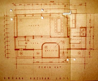 <p><strong>Resim  7. </strong>Zemin kat planı, Egli,  1935<br />  Kaynak: ABB Arşivi</p>