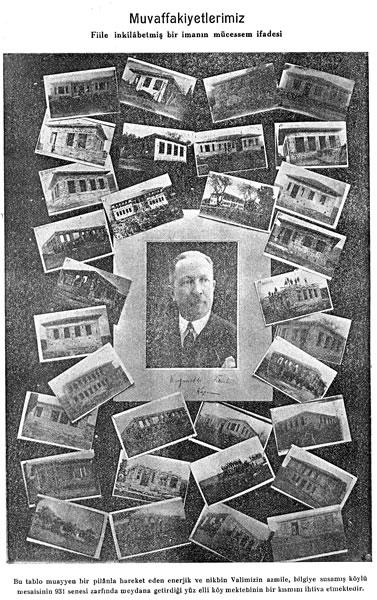 <p><strong>7. </strong>Vali Kazım Dirik  tarafından İzmir&rsquo;de 1931 yılı içerisinde inşa edilen 150 köy okulunun bir  bölümünü gösteren kolaj.<br />  Kaynak: Refet Sadettin,  1932, <strong>İzmir Valisi Kazım Paşanın  Köyleri, Fikirler</strong>, 77, s.3.</p>