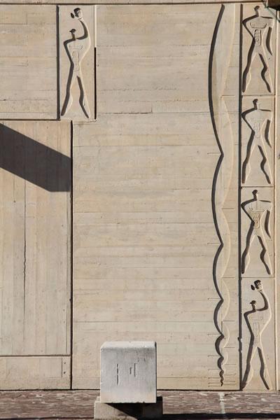 <p><strong>7</strong>. Le  Corbusierin tasarladığı Marsilya bloğu üzerindeki Le Modulor motifi<br />Fotoğraf: Ezgi Tuncer