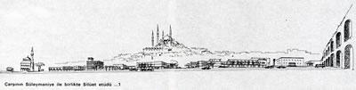 <p><strong>7. </strong>Yarışma  projesi için çizilen siluet<br />  Kaynak: <strong>İstanbul Manifaturacılar ve Kumaşçılar Çarşısı</strong>, 1968</p>