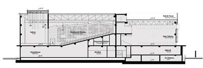 <p><strong>7.</strong> Konferans salonu, spor binası kesiti<br />  Kaynak:  Erginoğlu &amp; Çalışlar Mimarlık</p>