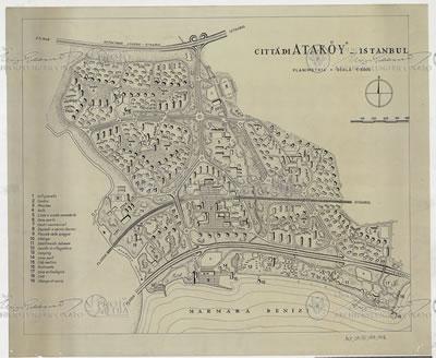<p><strong>7.</strong> Ataköy kent  planı ve kuzeyde Londra-İstanbul Otoyolu ile ilişkisi, 1956-59<br />   Kaynak: Luigi Piccinato Arşivi, ALP-01.02-179, www.archivioluigipiccinato.it  adresinden erişilmiştir.</p>