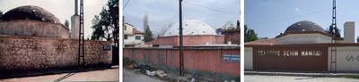 <p><strong>7.</strong> Hamamın 1996 öncesi, 1996 sonrası ve 2011 yıllarındaki  görünüşleri<br />   Kaynak: Keçiborlu Belediyesi arşivi </p>