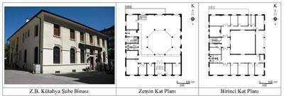 <p><strong>7.</strong> Ziraat Bankası Kütahya Şube Binasının fotoğrafı ve kat  planları<br />   Kaynak:  Fotoğraf yazara aittir, planlar ise T.C. Ziraat Bankası A.Ş. İnşaat ve  Gayrımenkul Yönetimi Bölüm Başkanlığının hazırlamış olduğu rölöveler esas  alınarak yazar tarafından düzenlenmiştir.</p>