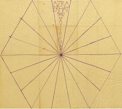 """<p><strong>7.</strong> Azra Erhat anıtı için çizilen """"Uçurtma"""" Deseni, 1982.<br />   Kaynak:  SALT Araştırma, Cengiz Bektaş Arşivi.</p>"""