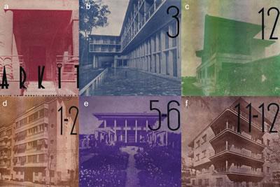<p><strong>7.</strong> Kapak fotoğraflarında perspektif  etkinin kullanımı, (a) <em>Arkitekt</em> 1936/2; (b) <em>Arkitekt</em> 1938/3; (c) <em>Arkitekt </em>1938/12; (d) <em>Arkitekt </em>1939/1-2; (e) <em>Arkitekt </em>1940/5-6; (f)<em> Arkitekt</em> 1940/11-12 <strong></strong></p>