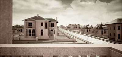 7. Bayındır Sokak ve Ziya Gökalp Caddesi kesişiminden Mimar Kemal İlkokuluna bakış, 1933. Kaynak: Bir Şehir Kurmak: Ankara 1923-1933 araştırma ekibi