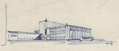<p><strong>7.</strong> Dudokun İzmir Belediyesi Tiyatrosu için yaptığı alternatif tasarım<br /> Kaynak: (ontwerp  W.M. Dudok), NAi/DUDO 195K.34, 195M.101, Het Nieuwe Instituut, Rotterdam </p>